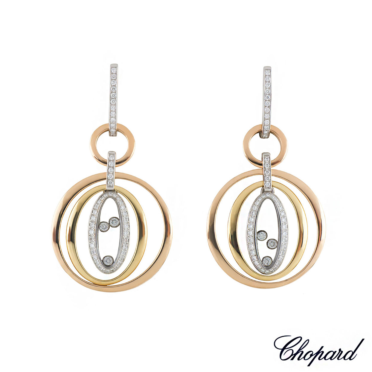 Chopard Tri-Colour Happy Diamonds Earrings 849432-9001